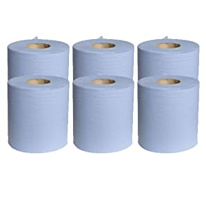 6 x Blue Paper Rolls - 2 Ply Embossed Centre Feed - Hand Towel - 130 Metre