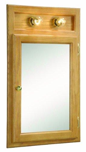 Design House 551036 18-Inch by 30-Inch Richland Ready-To-Assemble 1 Door Wall/Corner 2 Light Cabinet, Nutmeg Oak Light Oak 2 Door Cabinet