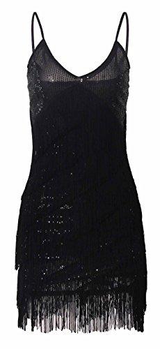 [JustinCostume 1920s Sequins Tassel Cocktail Latin Party Dress, L, Black] (Tina Turner Wig)