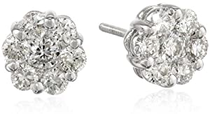 14k White Gold Flower Diamond Stud Earrings by GM Diamonds/Platinum 585