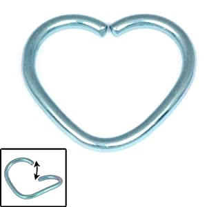 Steel Continuous Heart Ring for Helix, Daith, Rim Piercings. 1.2mm gauge. Internal Diameter 10mm. Ice Blue colour.