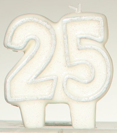 """Amscan Classic No.25 Glittery Birthday Candle, White/Silver, 2.75"""" x 2.4"""" - 1"""