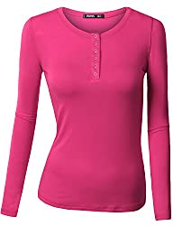 Thanth Womens Long Sleeve Button Down Henley Top Basic Shirts