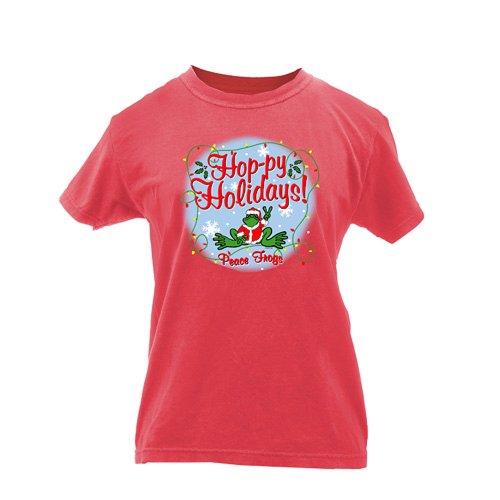 Peace Frogs Ladies Hoppy Holidays Garment Dye Short Sleeve T-Shirt front-920216