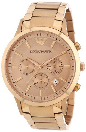 Emporio Armani AR2452 - Reloj cronógrafo de cuarzo para hombre con correa de acero inoxidable, color dorado