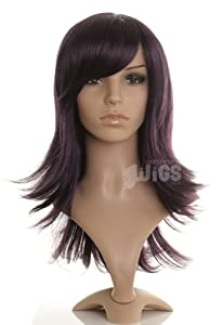 Black Wig With Purple Lowlights - Flicked Layered Style - Ladies Wig - Premium Quality Synthetic fibre only from Wonderland Wigs