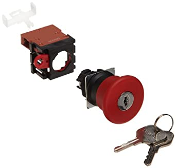 Omron A22E-MK-01 Emergency Stop Key Pushbutton and Switch, Screw Terminal, IP65 Oil-Resistant, Non-Lighted, Push-Lock Key-Reset Operation, Red, 40mm Diameter, Single Pole Single Throw Normally Closed Contacts
