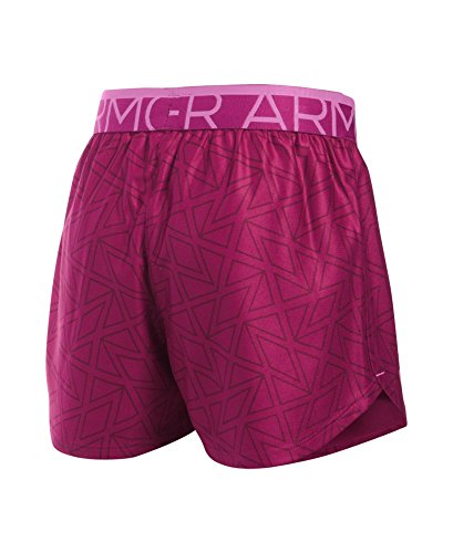 Under Armour Girls' Printed Play Up Shorts, Black Cherry (702), Youth X-Large