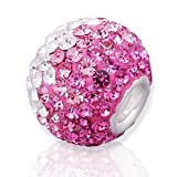 C10. Crystal MIX Pink , Sterling Silver Core Swarovski Crystal Bead, Set with Small Swarovski Crystals , Slide-on and Slide-off Crystal Silver Bead , 14mm X 6mm. 5mm Silver Core , Compatible with Pandora, Trollbeads Chamilia,silverado,and biagi