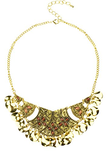 Btime Charming Vintage Retro Alloy Resin Short Choker Necklace(gold)