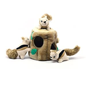 Kyjen PP01056 Hide-A-Squirrel Squeak Toy Dog Toys 4-Piece, Large, Brown