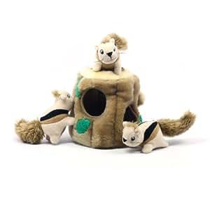 Outward Hound Kyjen  31011 Hide-A-Squirrel Squeak Toy Dog Toys 4-Piece, Large, Brown