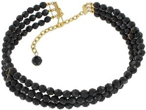 Black Beaded Three Strand Choker Necklace