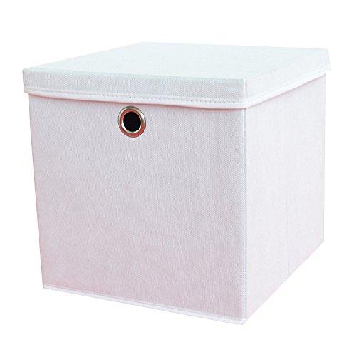 2-Stck-Faltbox-Wei-28-x-28-x-28-cm-Aufbewahrungsbox-faltbar-mit-Deckel