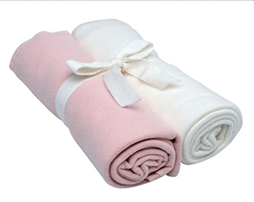 Under the Nile Swaddle Blankets 2-Pack in Blush and Off-White