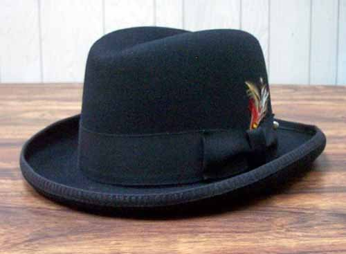 Black Fedora Wool Felt Men's Black Costume Hat Godfather Hat 22871