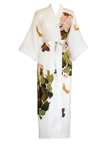 Kimono Robe - Printed peony & butterfly