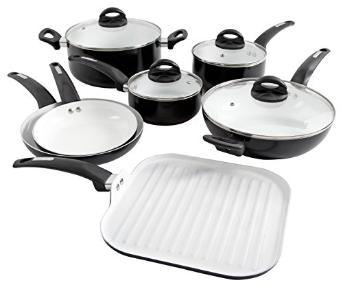 Oster 11 Piece Herschel Aluminum Cookware Set Ceramic Interior Black Exterior, Stainless Steel