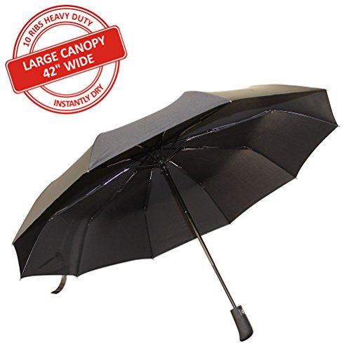 """Sevitti Travel Automatic Umbrella - Premium Quality Instantly Dry, 10-Rib, 42"""" Wide Durable and Windproof"""
