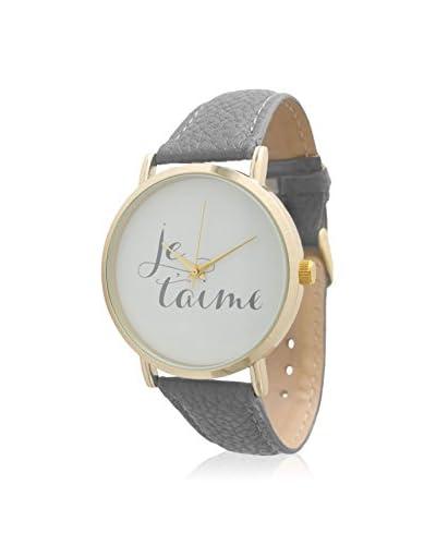 "Olivia Pratt Women's 13444 Grey/White ""Je t'Aime"" Print Leather Watch"