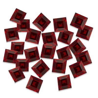 5.00 Cts of 3x3 mm Square Step Cut Matching Loose Garnet (24 pcs set) Gemstones