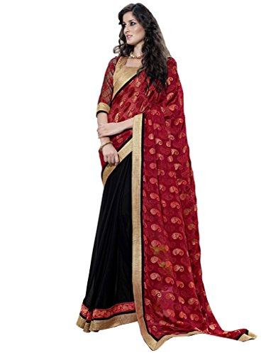 Lovely Look Latest collection of Sarees in Brasso & Georgette Fabric & in attractive Red & Black Color