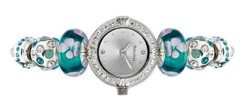 Accurist Ladies Silver Sunray Dial Silver Plated Crystal Bead Watch LB1425
