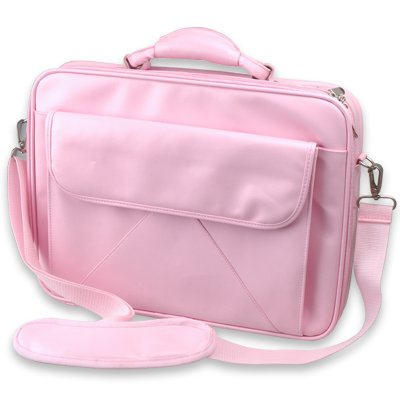 "Brand-New Pink 15"" Laptop Carrying Bag Case Man-made leather"