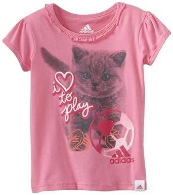 (童装)阿迪达斯Adidas Girls 2-6x Love To Play Tee可爱猫咪纯棉短袖T恤粉红$8.87
