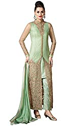 Justkartit Women's Attractive Semi-Stitched Pista And Golden Colour Stylish Dress Material / Wedding wear & Party Wear Collection With Heavy Embroidery