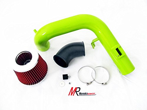05 06 07 Chevy Cobalt SS 2.0L L4 SuperCharged GREEN Piping Cold Air Intake System Kit with Red Filter
