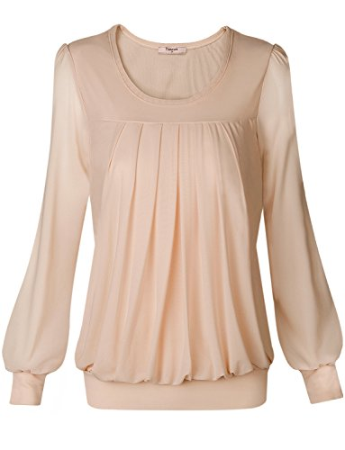 Tunic Top,Timeson Women Unique Strentcy Round Neck Long Sleeve Plus Size Tunic Top XXX-Large Beige