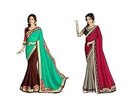 Pragya creations Women's Chiffon Saree (Prag46_Multi)-pack of 2