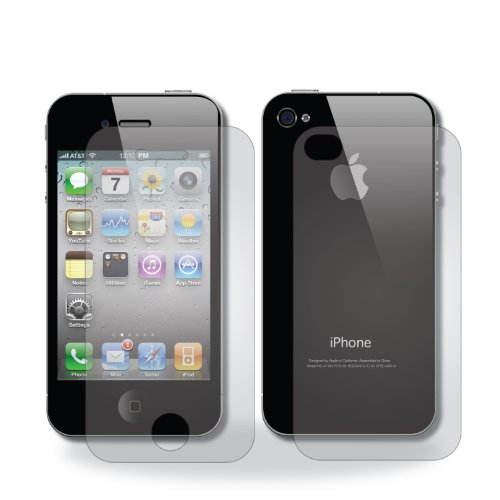 TechAhead® Screen Protector for iPhone 4S/4 Diamond style. Front and back. (Clear (Anti-glare)) (Iphone 4 Front And Backs compare prices)