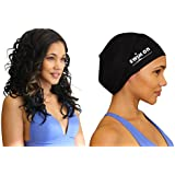 #1 Top Rated Large Swim Cap For Long, Thick, Or Curly Hair By Swim On - (Black)