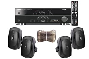 Yamaha 3D-Ready 5.1-Channel 500 Watts Digital Home Theater Audio/Video Receiver With a USB Digital Input and Connecting Cable to Play & Charge Your iPod or iPhone & Control Remotely + Set of 4 Yamaha All Weather Indoor / Outdoor 130 watt Wall Mountable Na