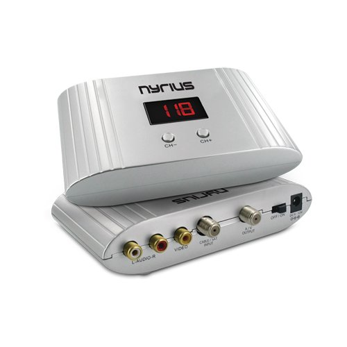 Nyrius NRFM100 Universal Channel RF Signal Modulator Audio/Video Converter with UHF/CATV Mode for satellite/cable TV set-top-box, DVD, surveillance camera