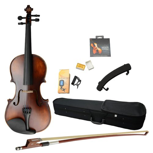 Olymstore(Tm) 4/4 Size Solid Wood Classic Violin With Case, Bow, Violin Strings, Rosin, Shoulder Rest And Electronic Tuner
