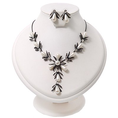 Bridal Y-Shape Ivory Faux Pearl Diamante Necklace & Stud Earring Set In Black Metal