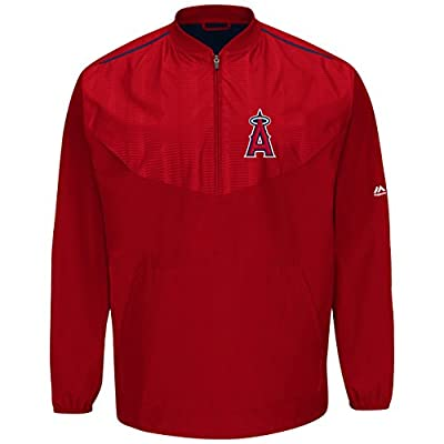 Los Angeles Angels Red On-Field Long Sleeve Training Jacket by Majestic