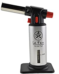 Vie De Chef Culinary Butane Torch - Best Creme Brulee Torch For Professional Kitchen & Baking Use - The Perfect Food Torch For All Cooking & Pastry Needs - Recipe Ebook Included (With Fuel Gauge)