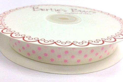 Bertie' s Bows Avorio con pois rosa 16mm nastro Grosgrain a 25m
