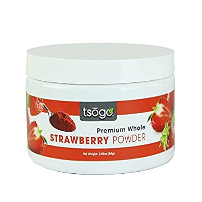 Tsogo Premium Whole Fruit Strawberry Powder, 84g 48 Servings of Premium Quality 100% Whole Freeze-Dried Strawberry Fruit Powder - No Added Flavors, Fillers or Sugars by Tsogo