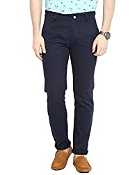 Navy Blue Twill Non Lycra Cotton Chinos 34