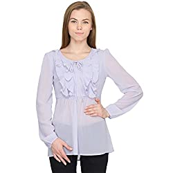 Orous Women's Bow Front Shirt (Valley010_Lilac_Medium)