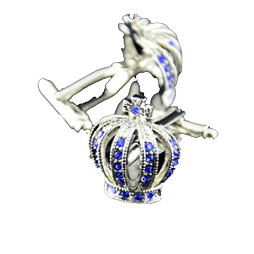 Sannysis Stainless Steel Vintage Men's Wedding Gift Imperial Crown Cufflinks (Blue)