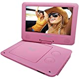 Pink : Sylvania 9-Inch Swivel Screen Portable DVD/CD/MP3 Player With 5 Hour Built-In Rechargeable Battery, USB/SD Card Reader, AC/DC Adapter, Pink