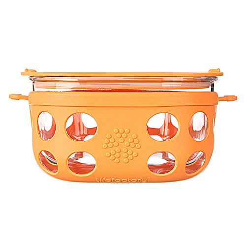 Lifefactory 440000 4-Cup Glass Mobile Food Storage Unit, Orange