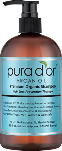 PURA D'OR Hair Loss Prevention Premium Organic Argan Oil Shampoo (Blue Label), 16 Fluid Ounce