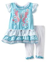 Young Hearts Baby-girls Infant 2 Piece Knit Shirt And Pant, Blue, 24 Months